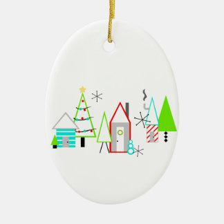 Ornement Ovale En Céramique la moitié du siècle de village de Noël moderne