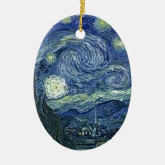 Ornement Ovale En Céramique La Nuit Etoilée de Van Gogh (The Starry Night)