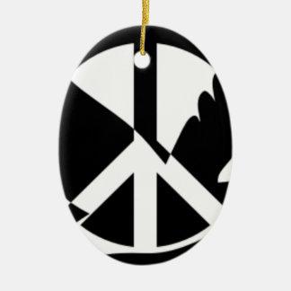 Ornement Ovale En Céramique La paix a plongé dans le signe de paix