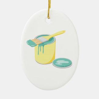 Ornement Ovale En Céramique La peinture peut et brosse