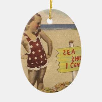 Ornement Ovale En Céramique La rétro mer vintage d'art écosse la Floride