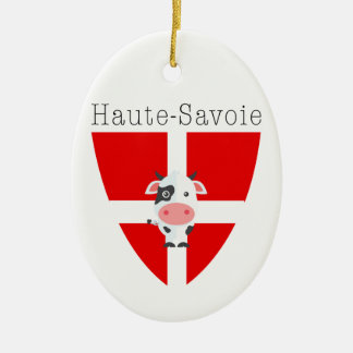 Ornement Ovale En Céramique La vache à la Haute-Savoie Dble-A dégrossi