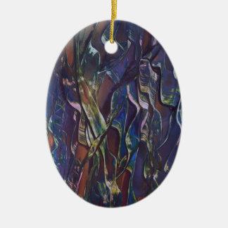 Ornement Ovale En Céramique La variété bleue d'herbe