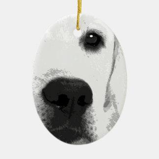 Ornement Ovale En Céramique Labrador retriever noir et blanc