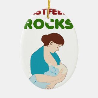 Ornement Ovale En Céramique l'allaitement des roches, mère, bébé trait le