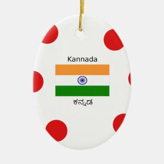 Ornement Ovale En Céramique Langue de Kannada et conception indienne de