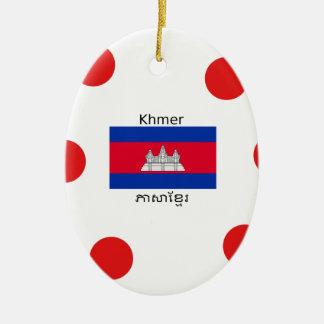Ornement Ovale En Céramique Langue de Khmer et conception de drapeau de