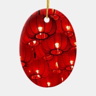 Ornement Ovale En Céramique Lanternes