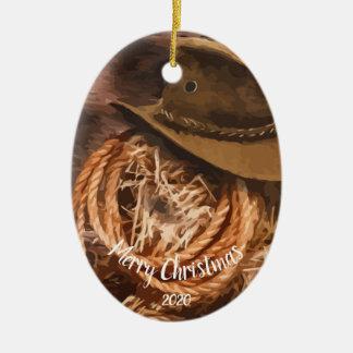 Ornement Ovale En Céramique Lasso occidental de casquette de cowboy de Noël