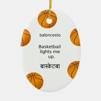 Ornement Ovale En Céramique Le basket-ball m'allume avec l'Espagnol et le