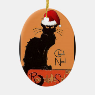Ornement Ovale En Céramique Le Chat Noel