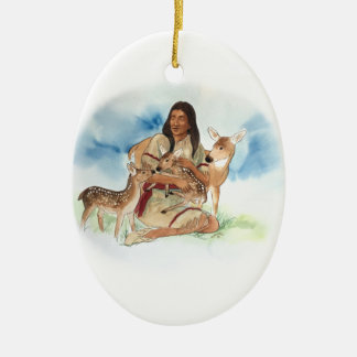 Ornement Ovale En Céramique Le clan de cerfs communs enfantent avec ses faons
