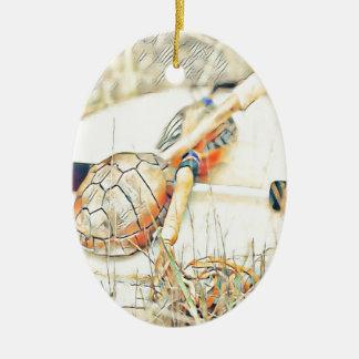 Ornement Ovale En Céramique Le clan de tortue cliquettent et battent du