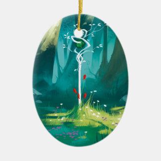 Ornement Ovale En Céramique Le coeur de la forêt