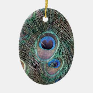 Ornement Ovale En Céramique Le cool observe des plumes de paon