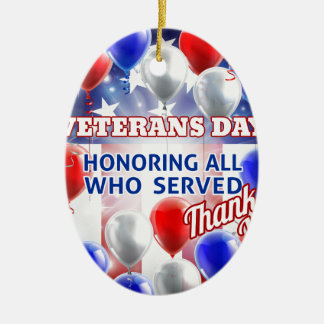 Ornement Ovale En Céramique Le drapeau américain de jour de vétérans monte en
