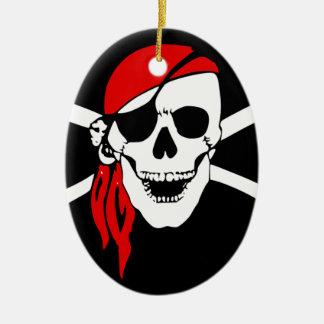 Ornement Ovale En Céramique Le drapeau de pirate désosse le symbole de danger
