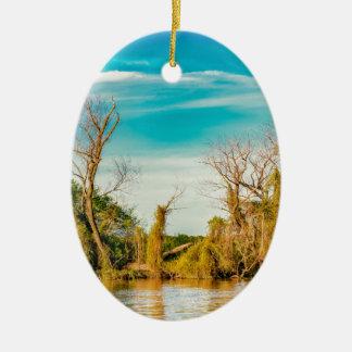 Ornement Ovale En Céramique Le fleuve Parana, San Nicolas, Argentine