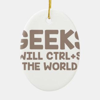Ornement Ovale En Céramique Le geeks ordonne le monde