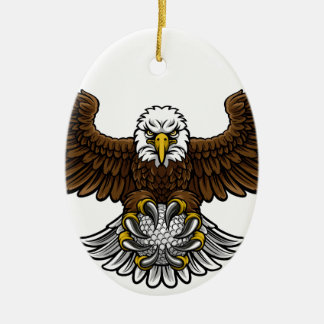 Ornement Ovale En Céramique Le golf d'Eagle folâtre la mascotte