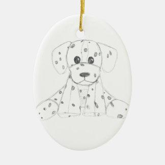 Ornement Ovale En Céramique le griffonnage simple de chien badine le Dalmate