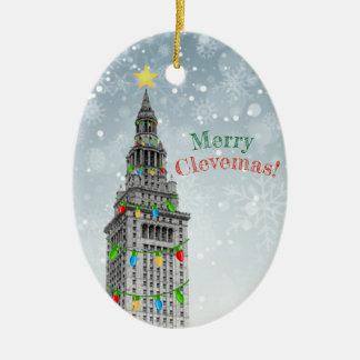 Ornement Ovale En Céramique Le JOYEUX Noël de CLEVEMAS Cleveland LE