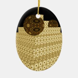 Ornement Ovale En Céramique Le kaléidoscope 3D fait un pas et des globes,