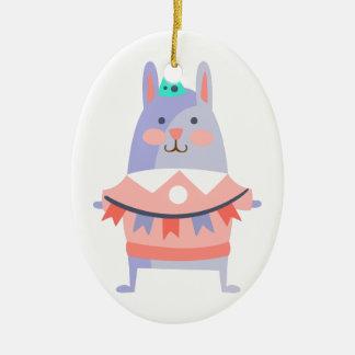 Ornement Ovale En Céramique Le lapin avec la partie attribue génial stylisé