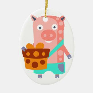 Ornement Ovale En Céramique Le porc avec la partie attribue génial stylisé