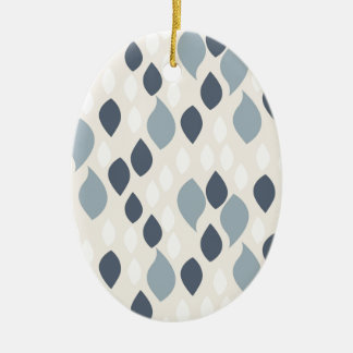 Ornement Ovale En Céramique Le résumé laisse tomber le bleu et le beige