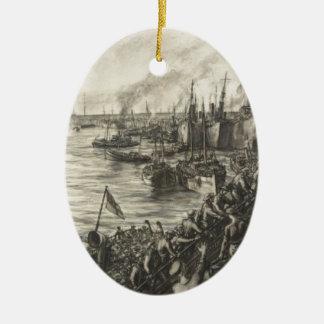 Ornement Ovale En Céramique Le retour de Dunkerque