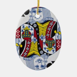 Ornement Ovale En Céramique Le Roi Of Clovers (clubs)