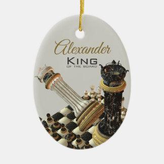 Ornement Ovale En Céramique Le Roi Of The Board de jeu d'échecs