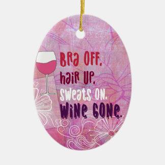 Ornement Ovale En Céramique Le soutien-gorge, des cheveux, sue dessus, vin