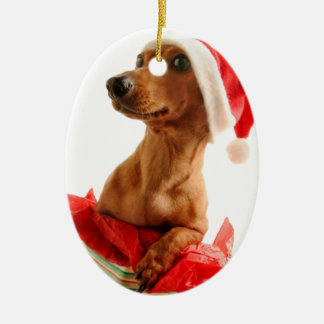 Ornement Ovale En Céramique Le teckel père Noël - le chien de père Noël -