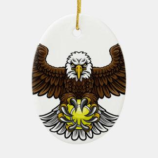 Ornement Ovale En Céramique Le tennis d'Eagle folâtre la mascotte