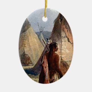 Ornement Ovale En Céramique le village indien et bravent