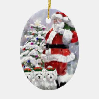 Ornement Ovale En Céramique Les aides de Père Noël