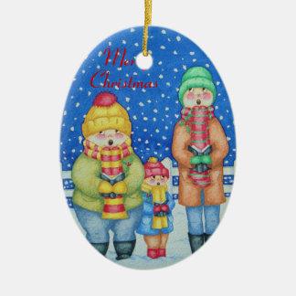 Ornement Ovale En Céramique les chanteurs drôles de hymne de louange dans Noël