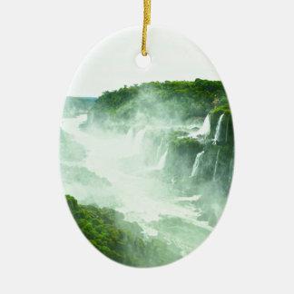Ornement Ovale En Céramique Les chutes d'Iguaçu
