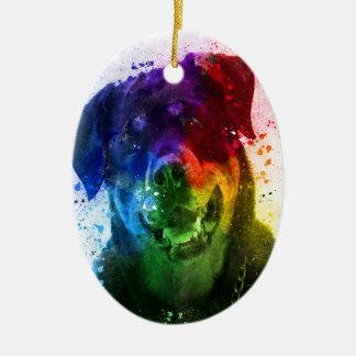 Ornement Ovale En Céramique Les couleurs de l'amour sont un rottweiler