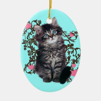 Ornement Ovale En Céramique Les dames de chat se réjouissent le chaton mignon