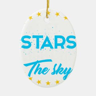 Ornement Ovale En Céramique Les étoiles laissées allument le ciel