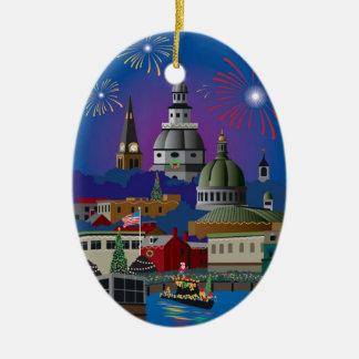 Ornement Ovale En Céramique Les vacances d'Annapolis allument le défilé