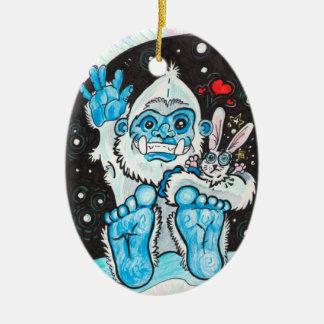 Ornement Ovale En Céramique Les vacances étreignent Yeti~ornament
