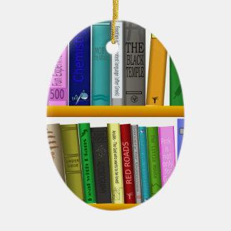 Ornement Ovale En Céramique l'étagère réserve la lecture de bibliothèque