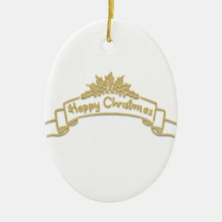 Ornement Ovale En Céramique Lettres d'or royales de Noël heureux