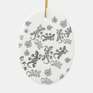 Ornement Ovale En Céramique Lézards fleuris