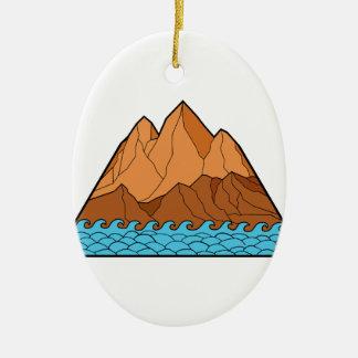 Ornement Ovale En Céramique Ligne mono en lambeaux de vagues de montagne