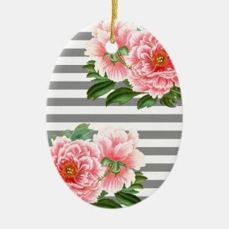 Ornement Ovale En Céramique Lignes roses de gris de pivoines